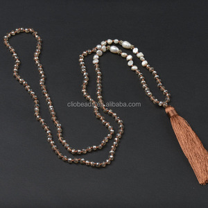 Freshwater Pearl Necklace CB47612 Tassel Necklace with Knots, Glass Crystal and Freshwater Beads
