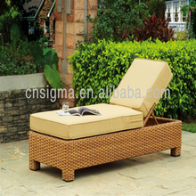 Classic design Outdoor Aluminium frame Rattan garden patio sun deck lounger furniture