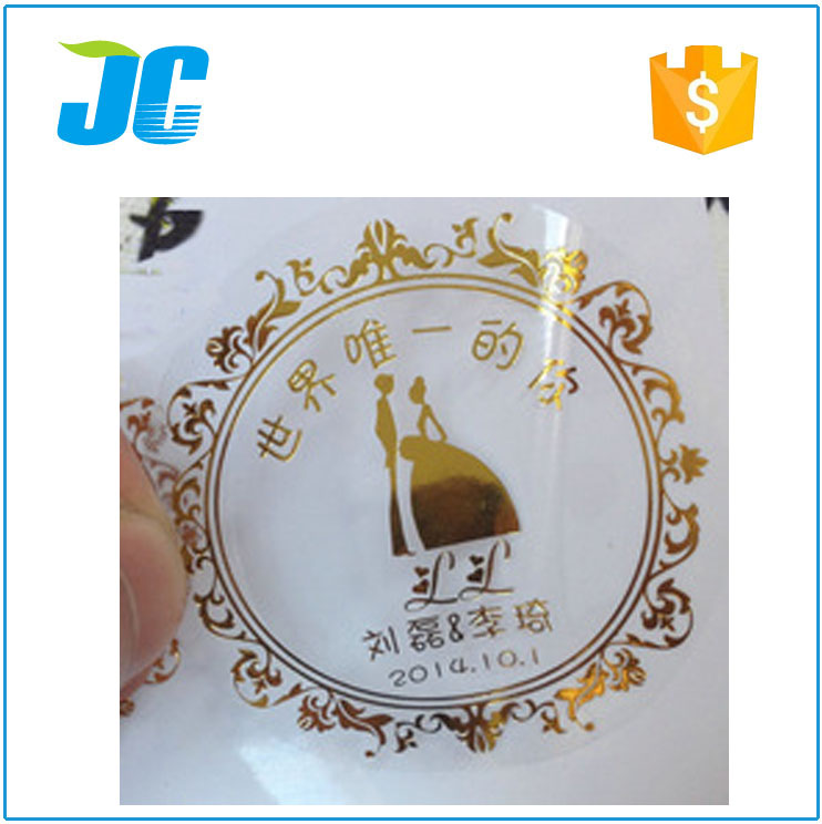 Custom printing plastic sticker with gold logo