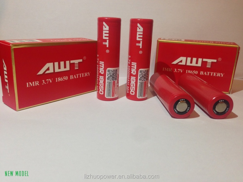 Original awt 40a 18650 battery 3000mah high drain rechargeable battery for to e cigarette x e phoenix firebird rta