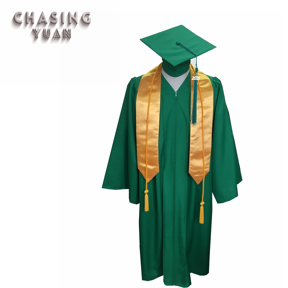 Kelly Green Matte Graduation Gown Cap & Stole,Gold Honor Cords - Buy ...