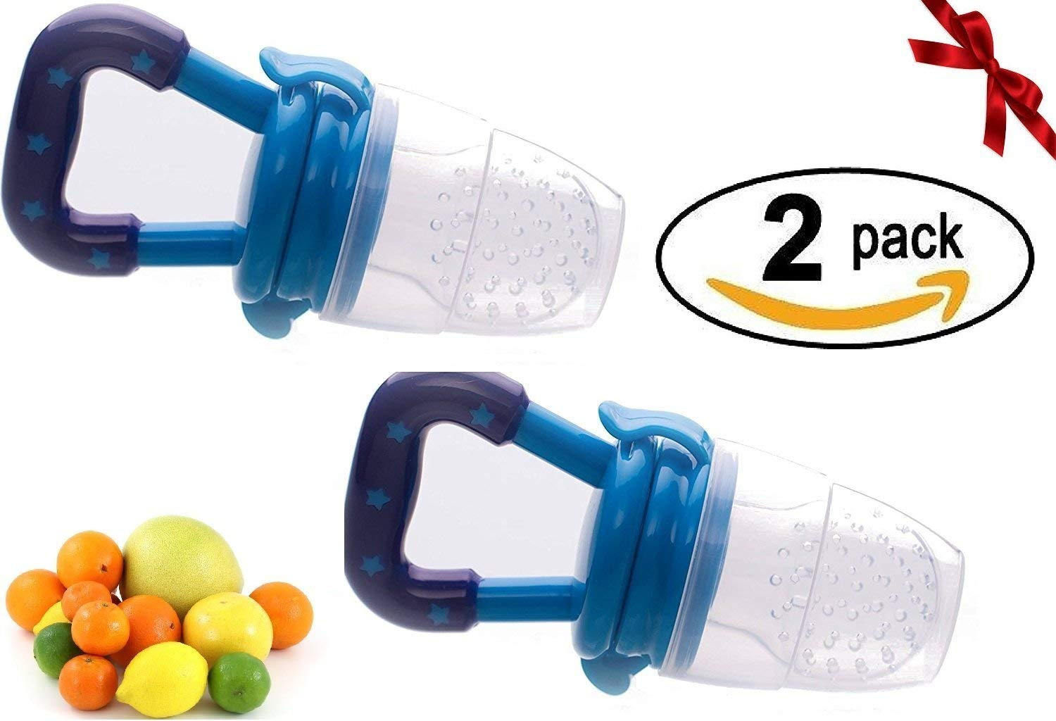 Baby Fresh Food Feeder | Baby Teether | Baby Teething Toys | Baby Fruit Feeder | Mesh Teether, 2 Pack Fruit Food Silicone Nipple Teething Toy Reusable Aching Gums Pacifier,Blue Portable Infant Food