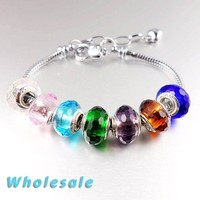 2017 Colorful Crystal European Pan Style Snake Chain Charms Bracelet