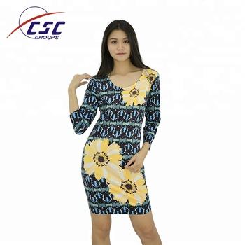 China Kleid Hersteller Digital Print Blumen Muster Kleid - Buy China ...
