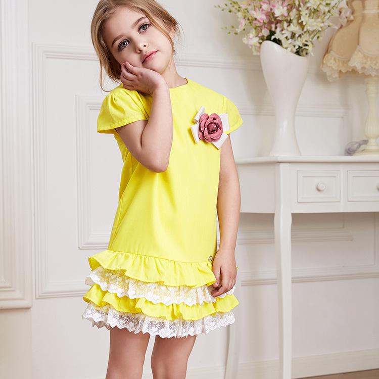 Dress Girl 2015 Summer Girl's Yellow Ruffles Layered