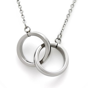 Personalized named to infinity and beyond stainless steel personalized named to infinity and beyond stainless steel interlocking double rings necklace aloadofball Choice Image