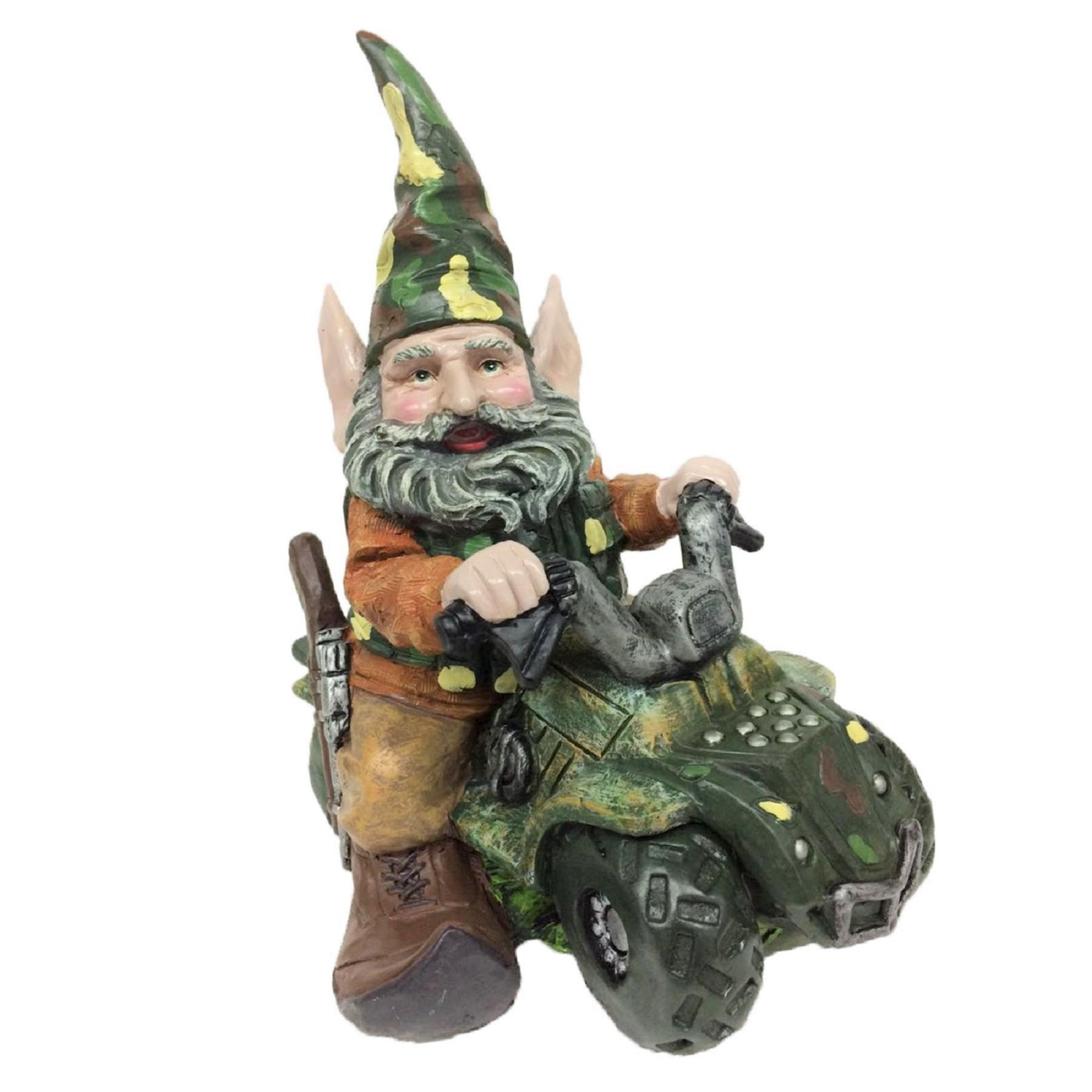 "Nowaday Gnomes - ""Hunter the Gnome"" Garden Gnome Hunter Riding His Customized ATV in Camouflage Figurine Statue 12""H"