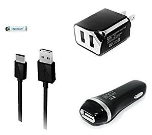 3-in-1 Type-C USB Chargers Bundle Car Kits for LG G5 (Black) - 2.1Ah Car Charger + Home Travel AC Charger Adaptor (Dual Port) + Type-C USB Data Charging Cable + MND Mini Stylus