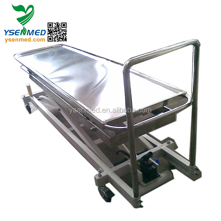 YSSJT-1C Medical Low Price Mortuary Lift Trolley Morgue Table Transport Stretcher