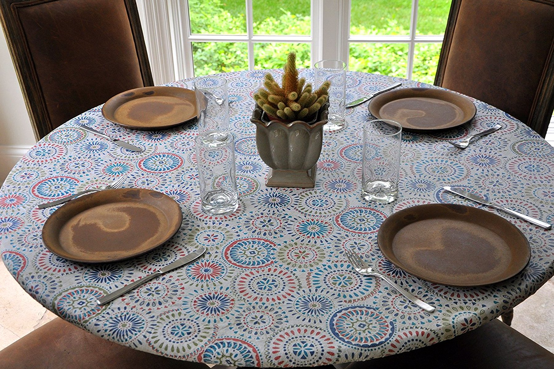 "Elastic Flannel Backed Vinyl Fitted Table Cover MULTI-COLOR GEOMETRIC Pattern - Large Round - Fits tables 45"" to 58"" round - Elastic Edged"