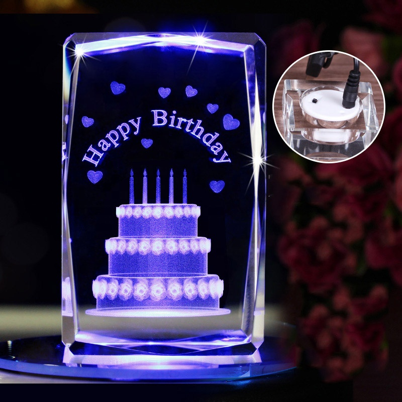 High quality 3d laser engraved crystal gift blank cube Rubik's glass shaped cube for birthday gift