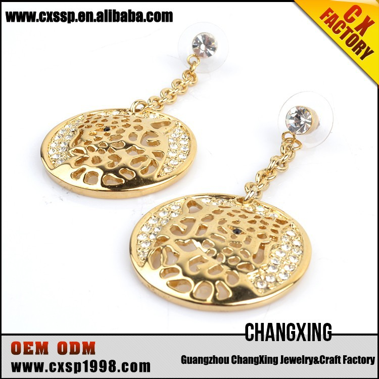 Fashion indian style gold plated wire dangle earrings wholesale