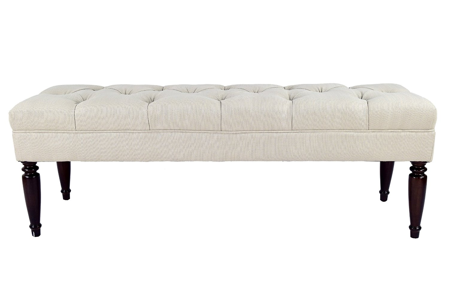 MJL Furniture Designs Claudia Collection Upholstered Diamond Tufted Bedroom Accent Bench, Sachi Series, Khaki