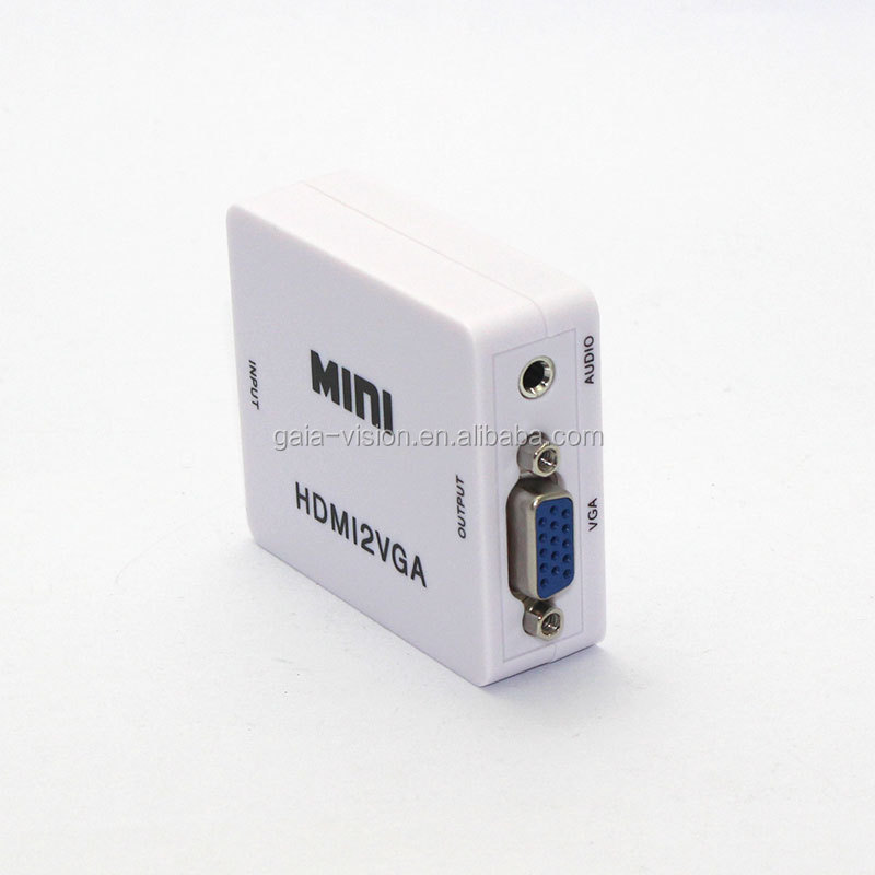 HD 1080P Mini Portable HDMI to VGA Adapter Converter Connector with Audio Jack for HDTV/DVD/PS3/Xbox 360