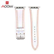 Модный цветной кожаный ремешок для часов Apple Watch iwatch 4 40 мм 44 мм 38 мм 42 мм лазерный сменный браслет для мужчин и женщин(Китай)