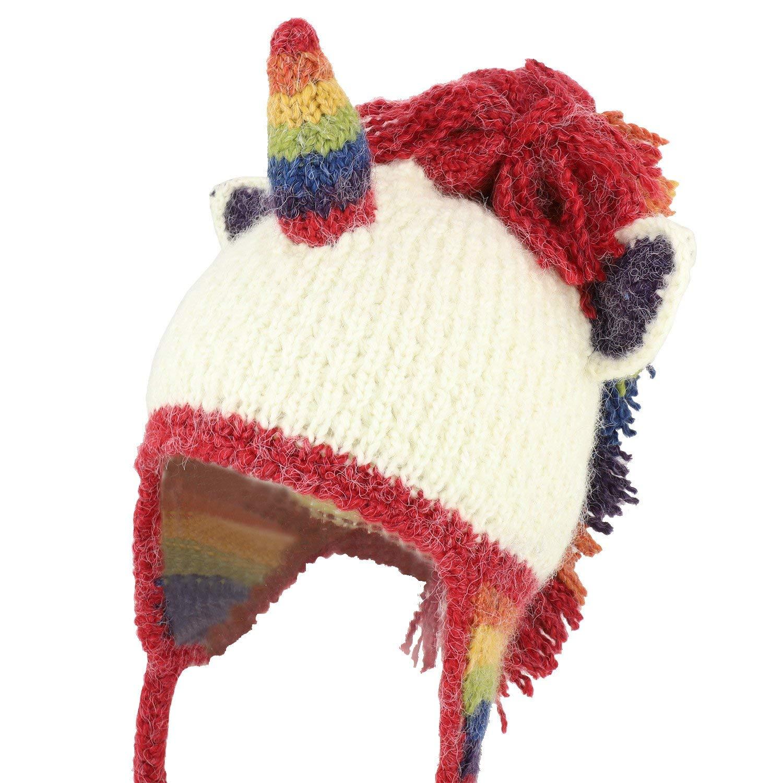 752d9d1746c Get Quotations · Trendy Apparel Shop Rainbow Unicorn 100% Hand Knit Earflap  Funny Beanie Hat