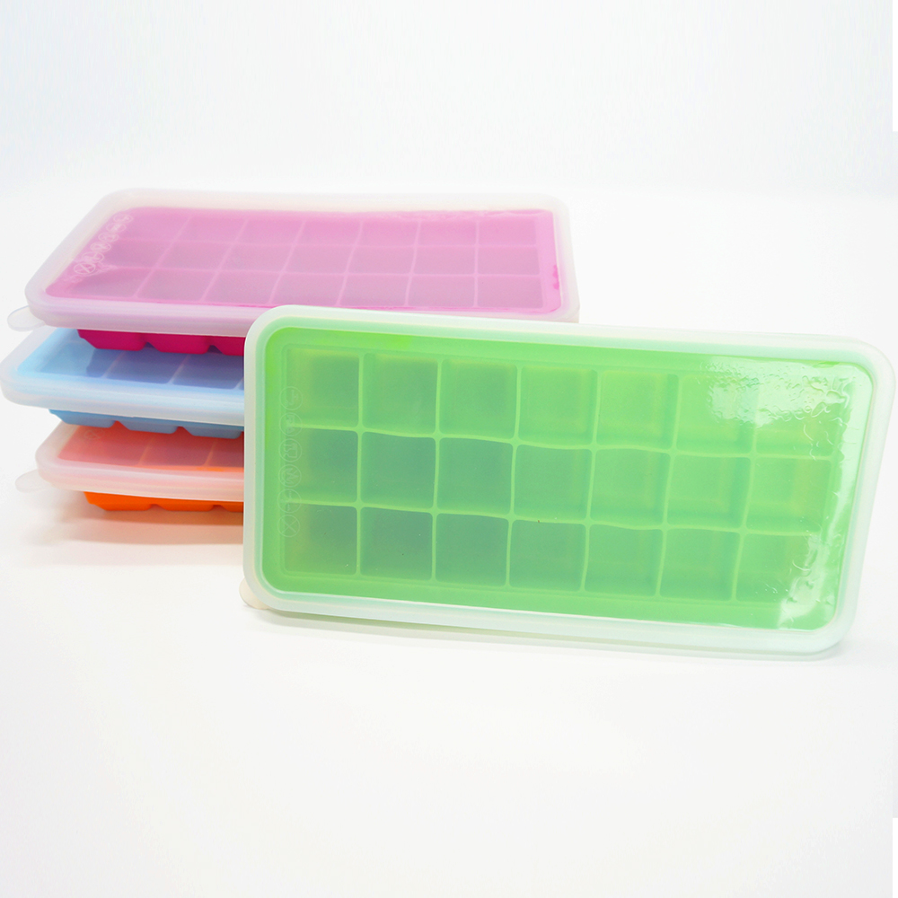 High quality Customized Silicone ice cube tray with lid