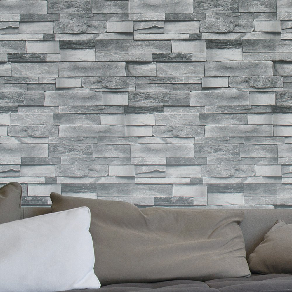 Haokhome 454003 modern faux stone wallpaper roll gray 3d brick realistic paper room wall decoration 20 8