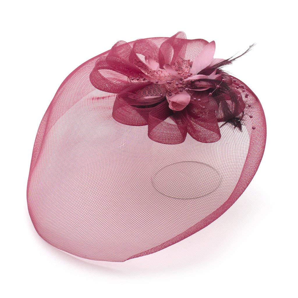 HAND Ladies' Fashionable Feather Flower Bead Detailed and Mesh Ascot/Derby Day Fascinator Hat Headdress - Wine
