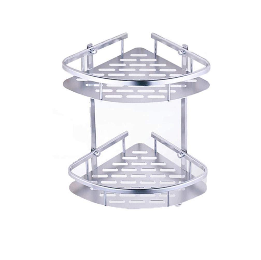 Nesix Bathroom Shelf(No Drilling), Shower Corner Caddy Durable Aluminum 2 tiers shower shelf Kitchen storage basket Adhesive Suction Corner Shelves Shower Caddy (Silver)