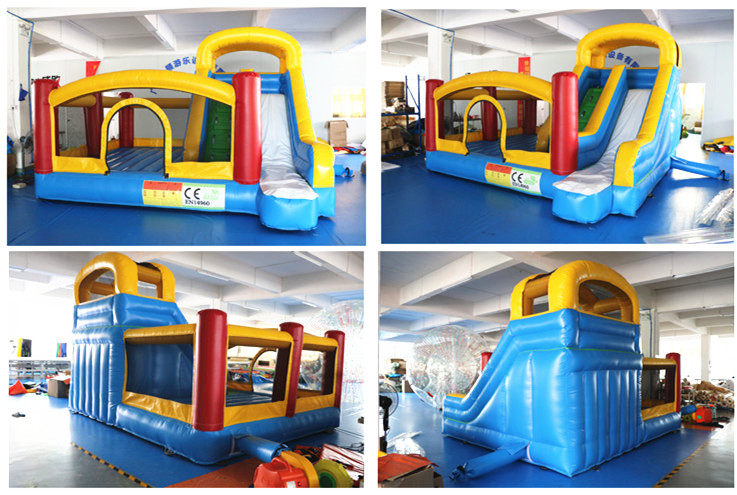 Manufacturer Hot selling kids indoor or outdoor 0.55mm PVC tarpaulin bounce house combo  inflatable bouncy castle with slide