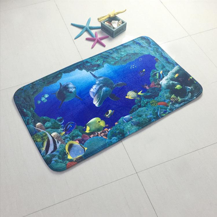 68d3a4a344e2 3 pieces set bath Mat Ocean Underwater World Carpet doormat Dolphin fish  printed Toilet Mat for bathroom 3 pcs Bath rugs - us312