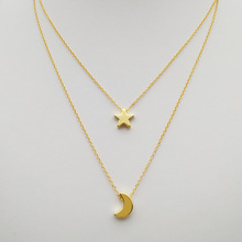 Simple design double layer Star Moon necklace fashion gold silver star necklace moon women jewelry