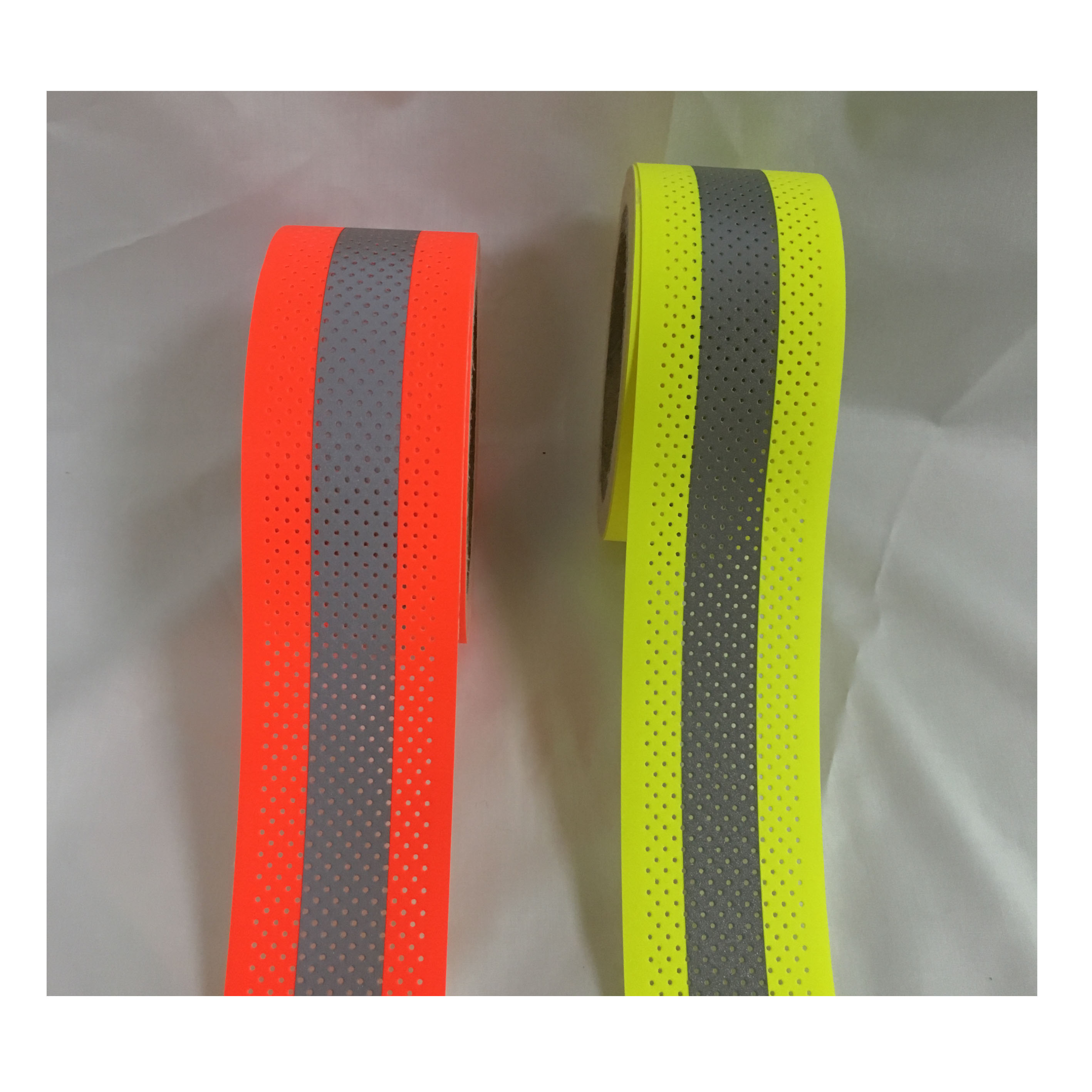 2 x 16 High Visibility Fluorescent Yellow Reflective Flame Fire Retardant FR Fabric Tape Sew on