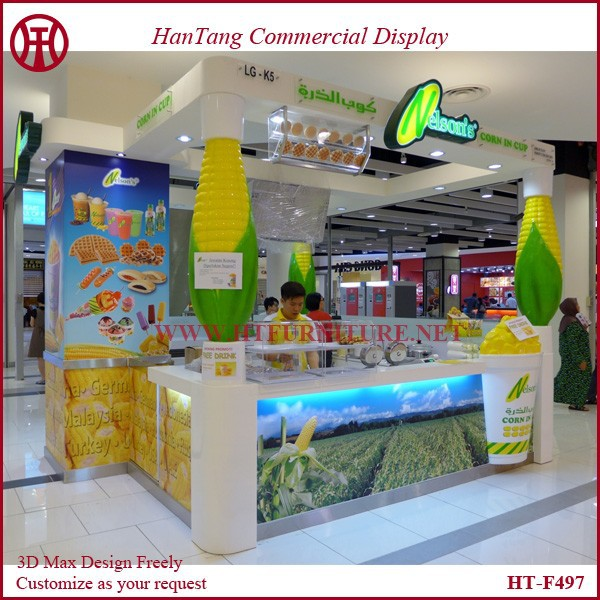 Customize mall indoor popcorn vending kiosk with marble counter/popcorn cute model