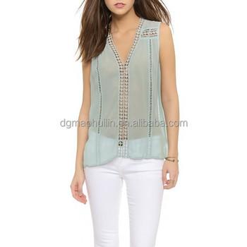 New Arrival Women Clothing Women Chiffon Blouse Bohemian Style Sleeveless V  Neck Crochet Shirt Summer Blouse Plus Size Shirts - Buy Plus Size Lace ...