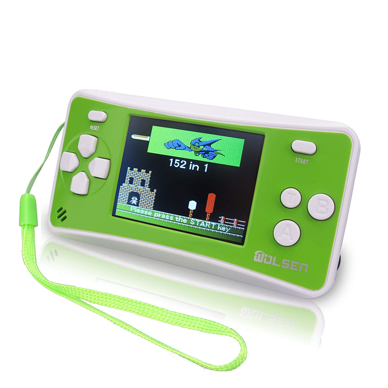 "WOLSEN 2.5"" LCD Portable Handheld Game Console Speaker (Green+ White) (3 X AAA) 152 in 1 Games"