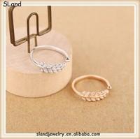 SLand jewelry manufacturer direct wholesale Platinum/rose gold plating 925 sterling silver cz leaf ring - Adjustable style