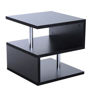 Wooden S Shape Cube Coffee Table 2 Tier Storage Shelves Display Black