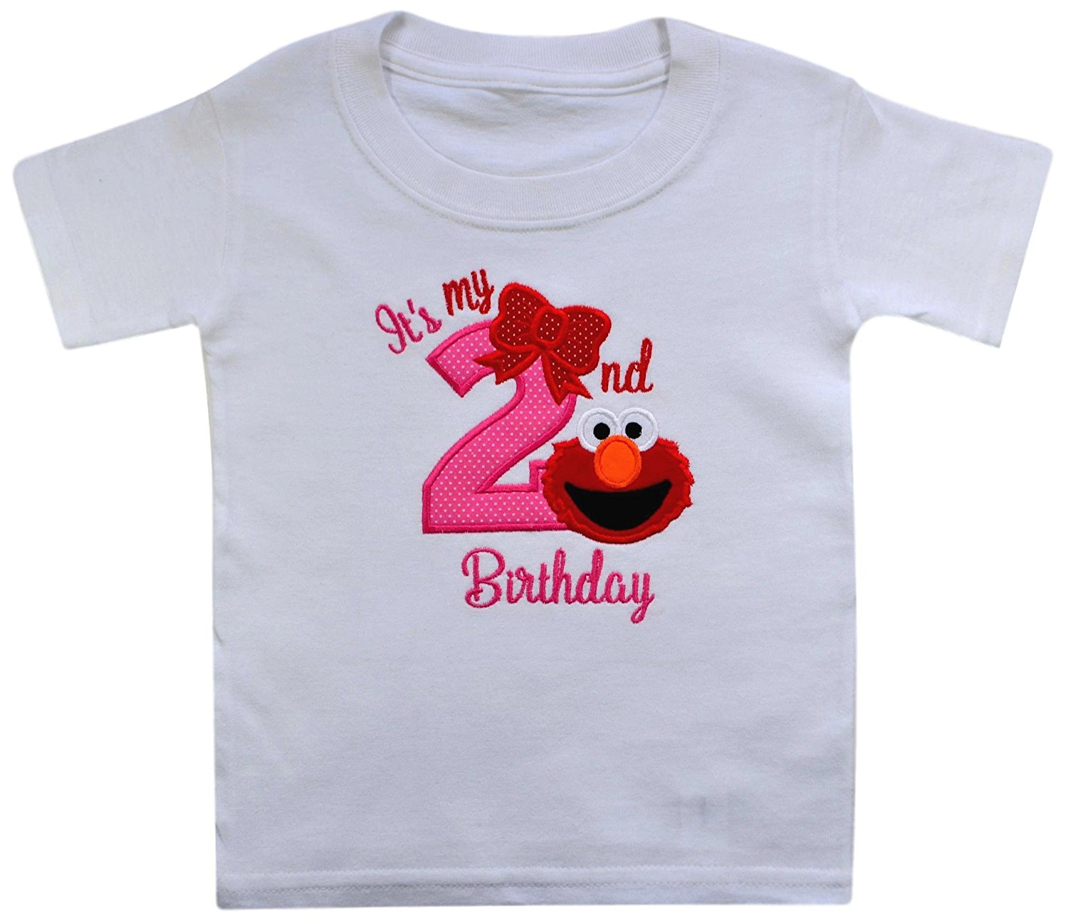 Get Quotations Elmo Its My 2nd Birthday Embroidered T Shirt For Toddler Girls Turning 2
