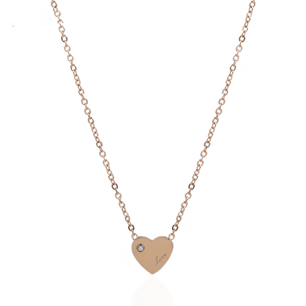Women jewelry 14K rose gold plated cute small zircon heart love charm necklace