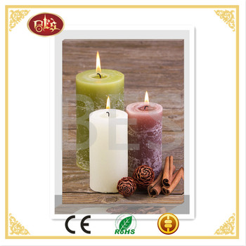 Delicate wall art led candle canvas,canvas with candle for relax