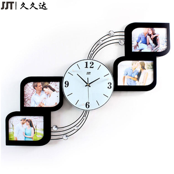 Home Decoration MDF Large Iron Photo Frame Wooden Wall Clock With Glass Photo