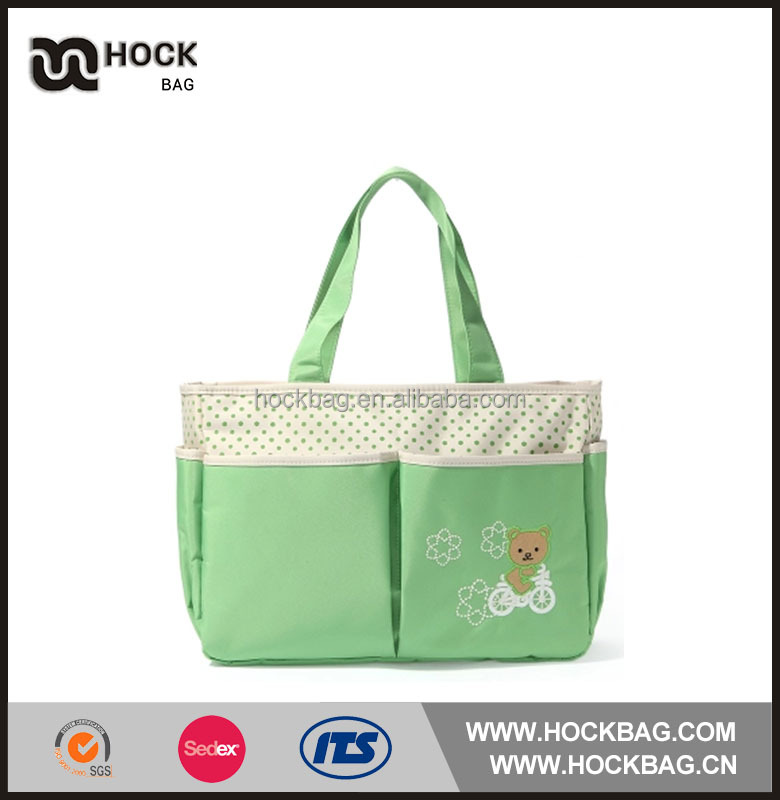 Green color Wholesale customized diaper bags mummy baby bag, trendy mother bag china