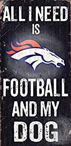 NFL Football and Dog Wood Sign ( Color:Denver Broncos Denver Broncos) by Fan Creations
