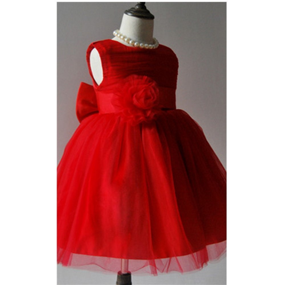 KAKA(TM) Lovely Girls One Piece Dress Rose Flower Gauze Red Princess Skirt Party Costume Dress With Bowknot + Imperial crown(Height:48-52inch)