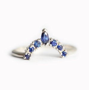 Marquise Cutting Blue Sapphire Diamond Rings 925 Stamp