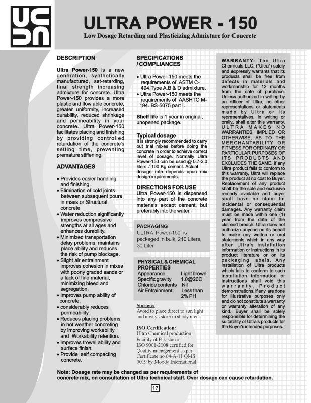 Pakistan Chemical Admixture, Pakistan Chemical Admixture