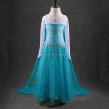 2016 newest wholesale fashion party baby princess dress for frozen dress elsa dress