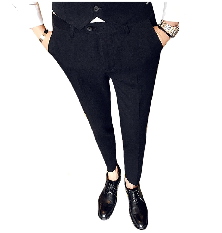 Abetteric Men Plus Size Straight Pockets Business Casual Plain-Front Pant
