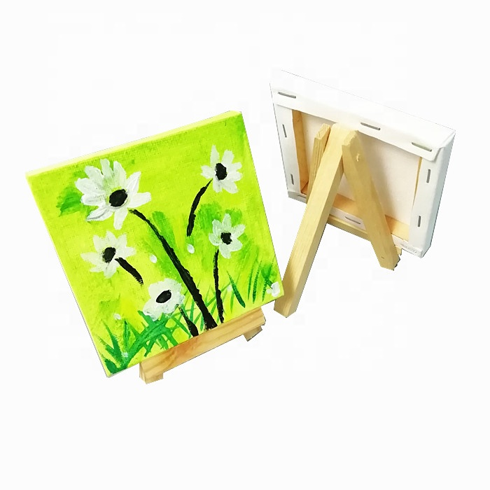 Mini Stretched Canvas with easel Painting set