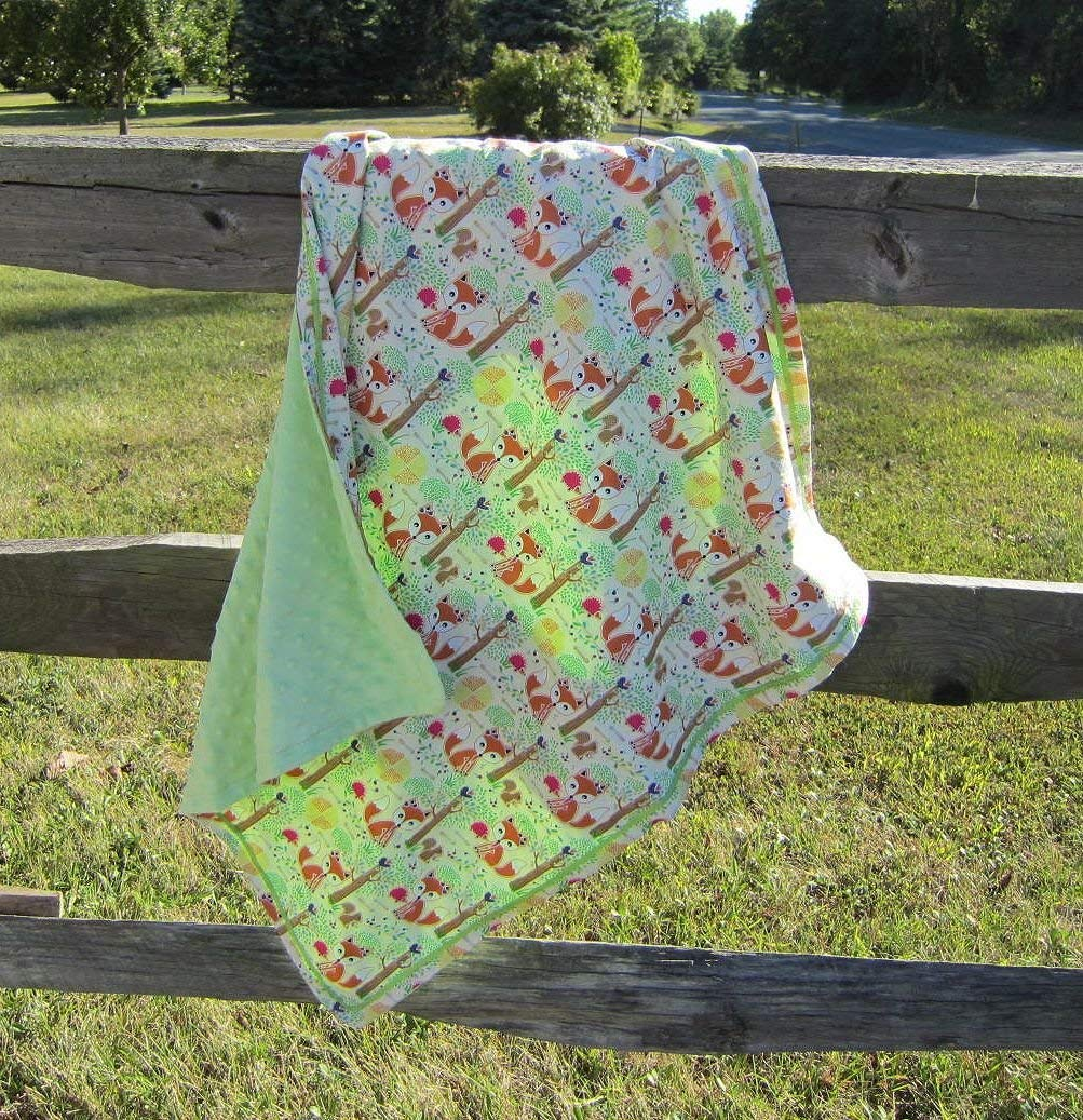 80d7e9a50f Get Quotations · FOREST FOX Baby Animal Blanket Cotton Fabric w mint green  Minky Fabric 28