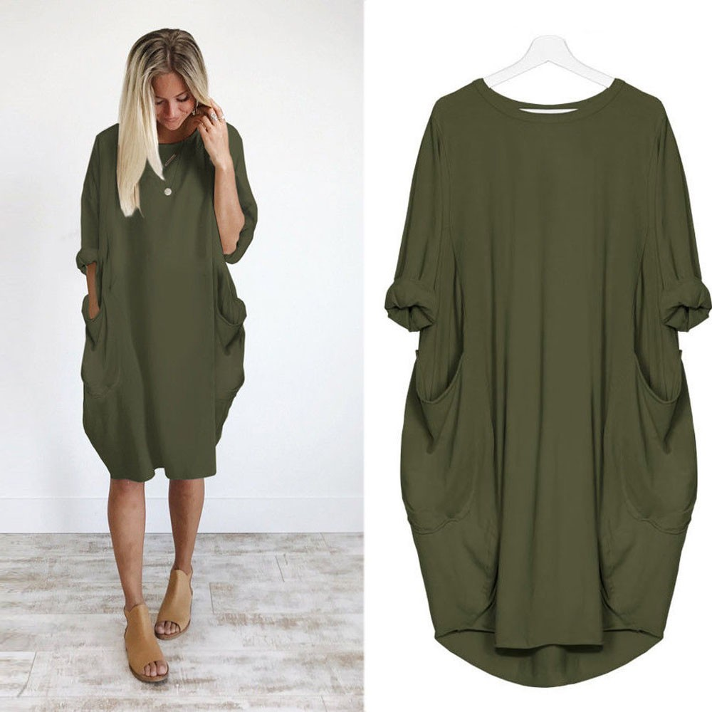 2019 hot sale Women Casual Dress Pocket Loose Long Sleeve Irregular Dress Ladies Crew Neck Casual Long Tops Dress Plus Size фото