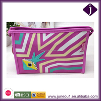 The new PU zebra pattern makeup bag large capacity cosmetics package wash up bag