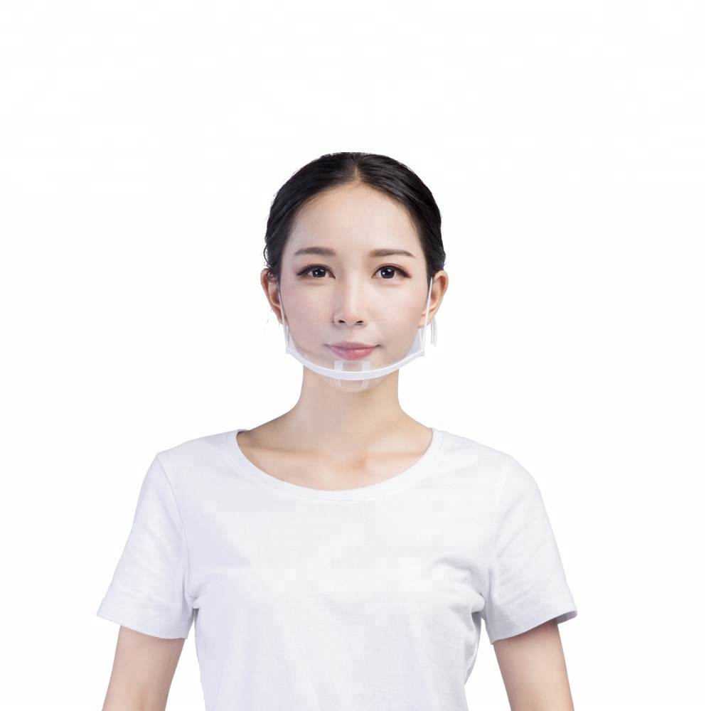 Reuse smiling Clear hygiene plastic mask <strong>protect</strong> saliva sanitary transparent plastic face mask for food service restaurant