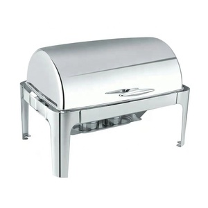 Hotel Buffet 9L Rectangular Stainless Steel Roll Top Food Warmer Container Chafing Dish
